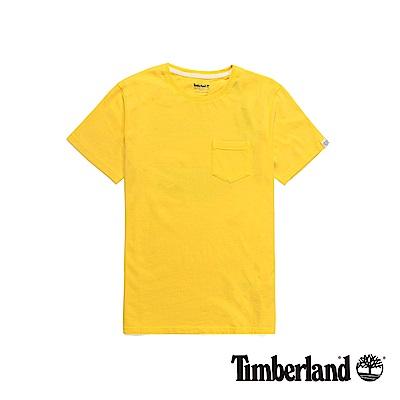 Timberland 男款黃色品牌LOGO短T恤