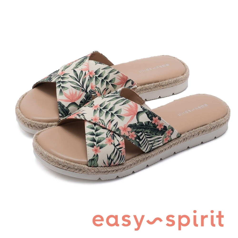 Easy Spirit-seTIERRA7-A 春天花布拼接草編交叉束帶彈性拖鞋-花色