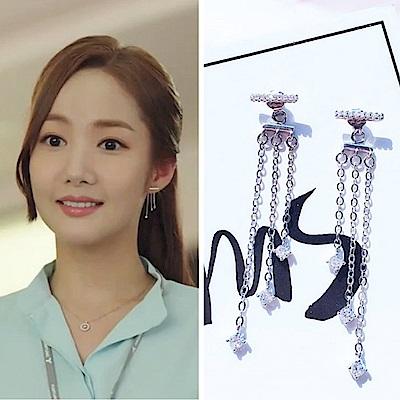 梨花HANA 韓國925銀金秘書為何那樣水晶淚滴耳環