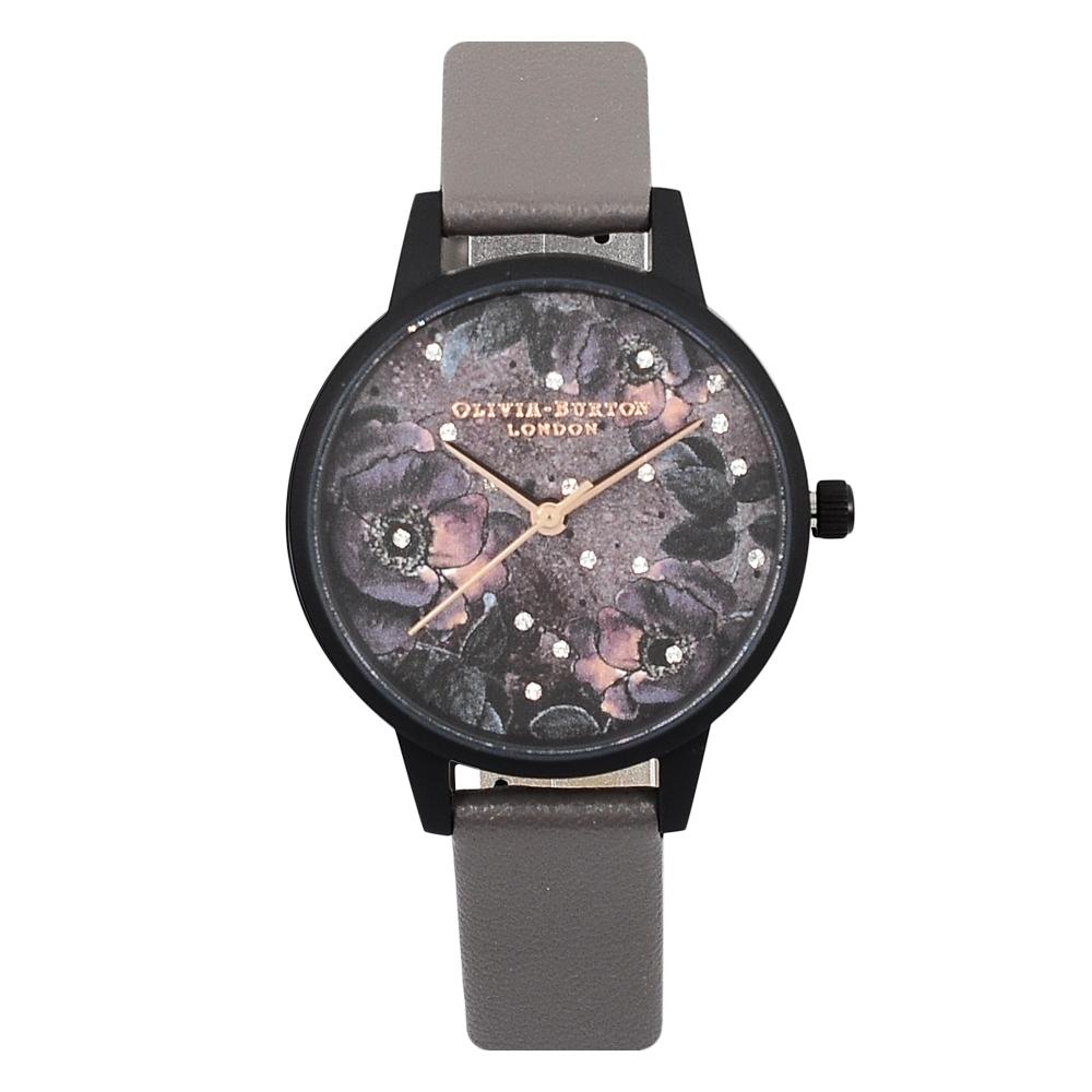 Olivia Burton 英倫復古手錶 星空花園 深灰色皮革錶帶霧黑錶框30mm