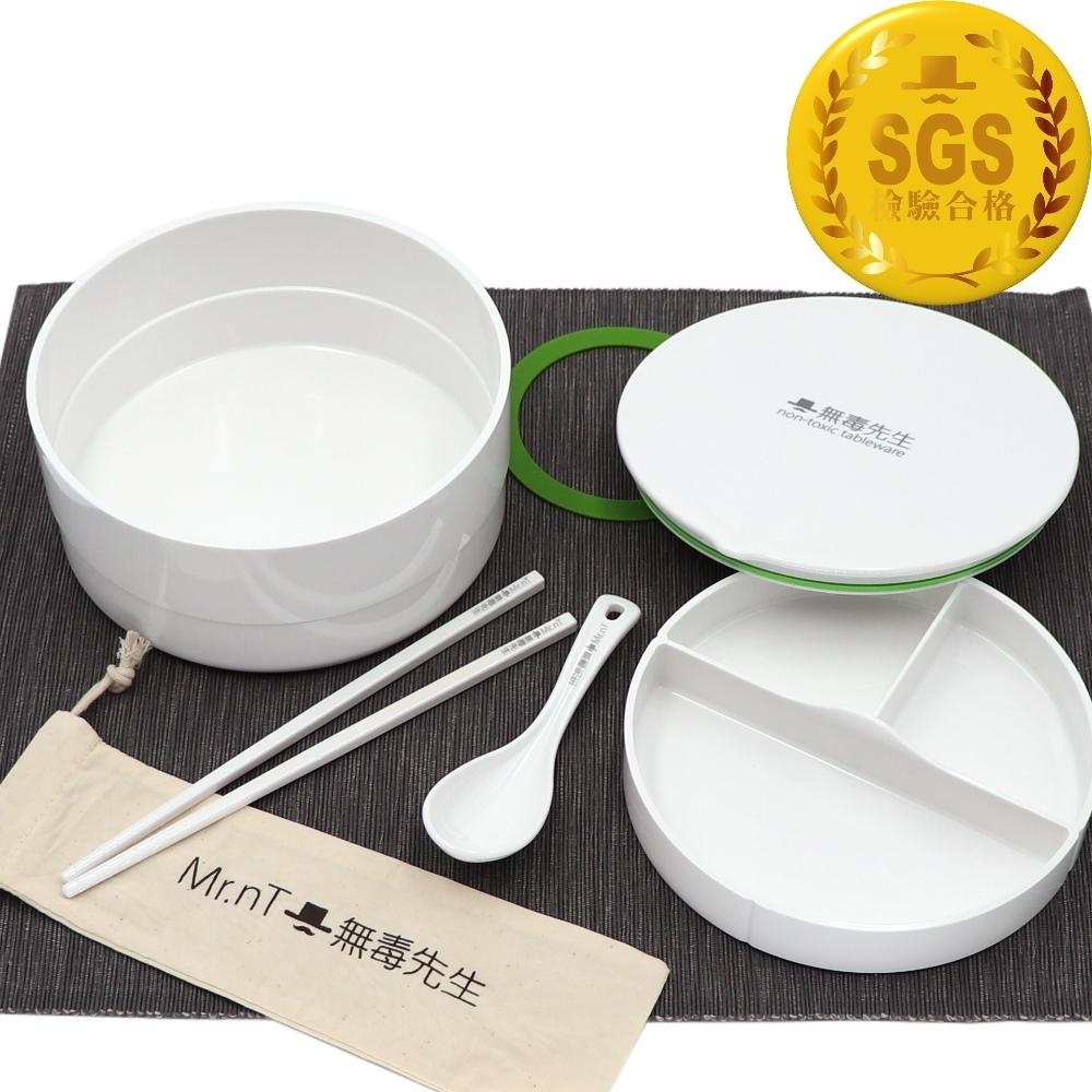 Mr.nT 無毒先生 安心無毒可微波可電鍋加熱圓形便當1.7ML+餐具組(快)