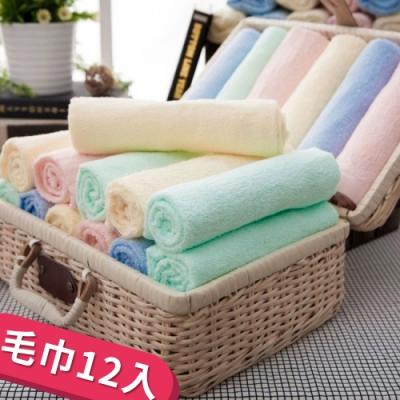 (超值12條組)純棉典雅素色易擰乾毛巾  24hr快速到貨