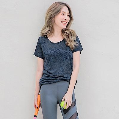 台灣製造~透膚豹紋短袖長版運動上衣-OB大尺碼