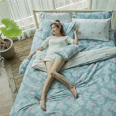 BUHO 雙人加大三件式床包枕套組(南洋熱嶼-綠)