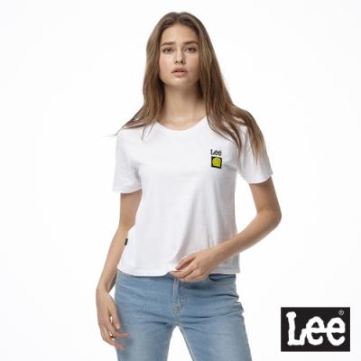 LEE X SMILEY聯名短袖圓領T恤 女 白 寬短版
