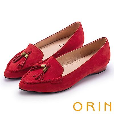 ORIN 經典復古 氣質流蘇牛皮尖頭樂福平底鞋-紅色