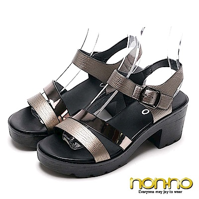 nonnon 鐵灰優雅 清涼高跟涼鞋 灰