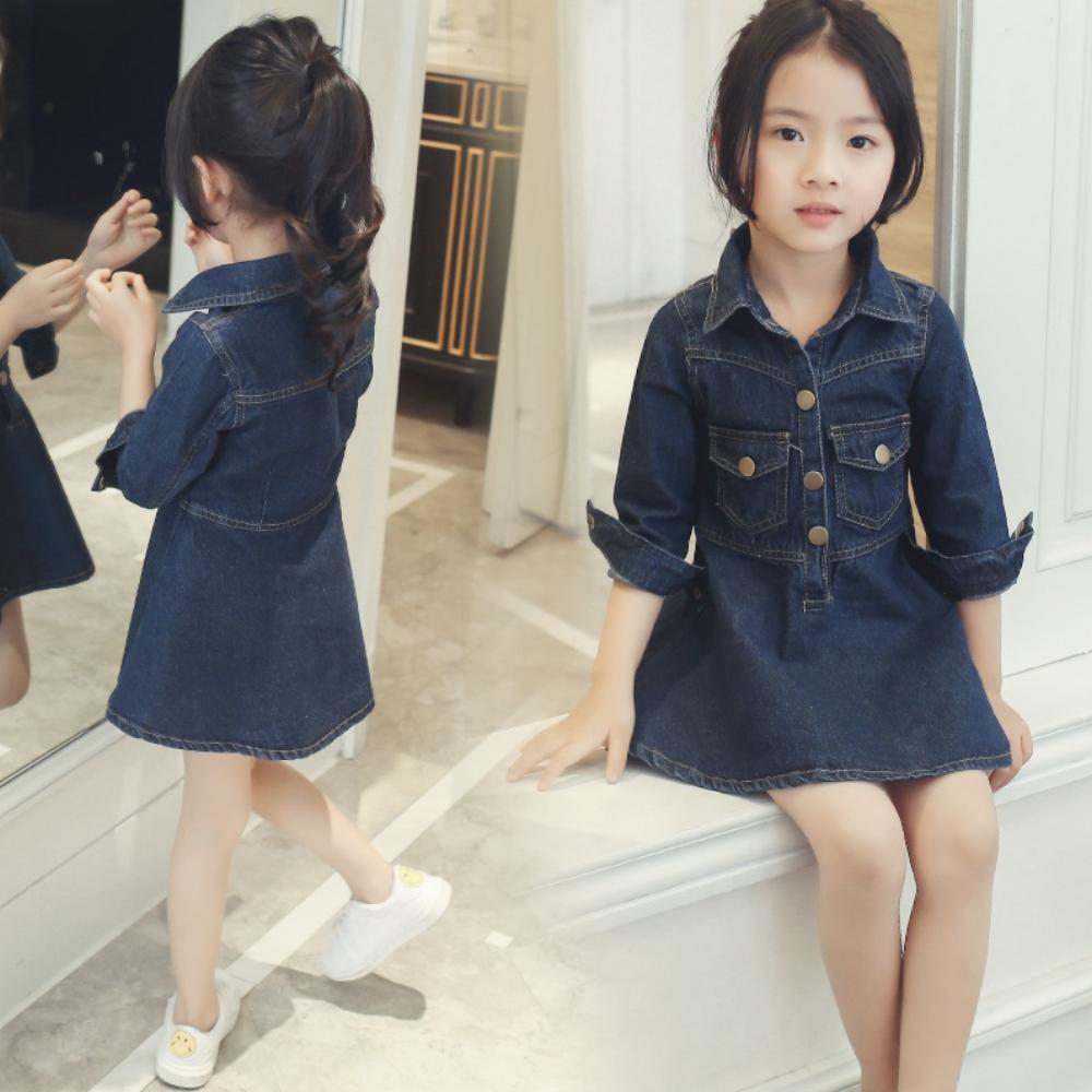 小衣衫童裝  小中大童翻領時尚九分袖牛仔洋裝
