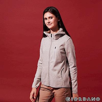 GIORDANO 女裝fleece內層刷毛連帽防風外套-07 中花灰色