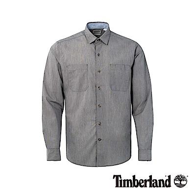 Timberland 男款紗染暗藍色長袖襯衫|A1NN4