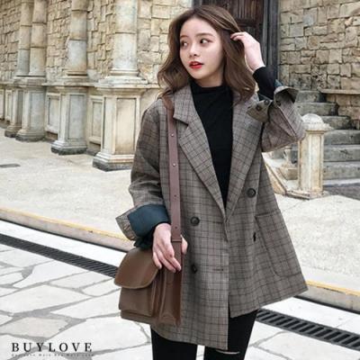 買到戀愛-韓風復古格紋西裝顯瘦外套