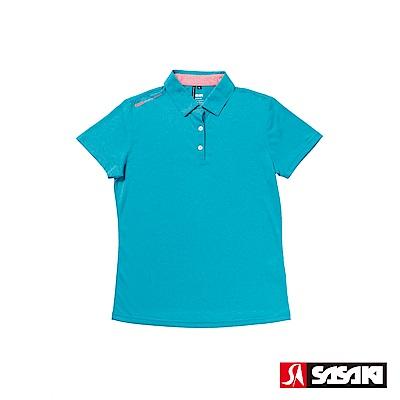 SASAKI 抗紫外線速乾吸排功能休閒Polo短衫-女-孔雀藍/艷桔