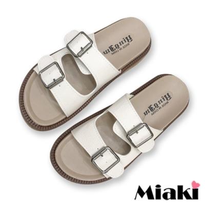 Miaki-拖鞋經典雙扣厚底涼拖-米