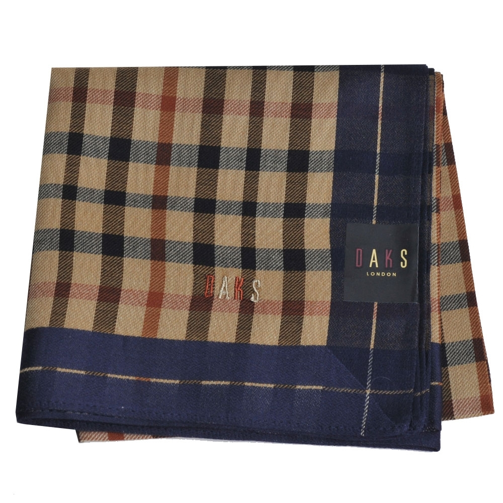 DAKS 經典格紋字母LOGO帕領巾(深藍邊)