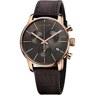 Calvin Klein CK City 都會紳士計時腕錶-黑x咖啡43mm