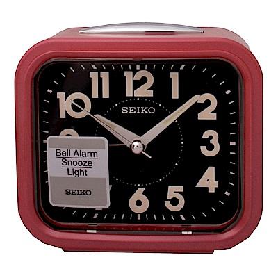 SEIKO 精工 流線方型靜音夜光貪睡鬧鐘-紅框黑面