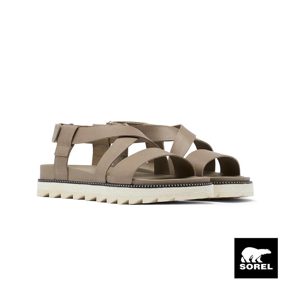 SOREL-女款城市漫遊系列厚底涼鞋-米灰色