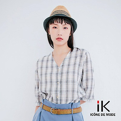 iK-百搭V領格紋配色五分袖襯衫