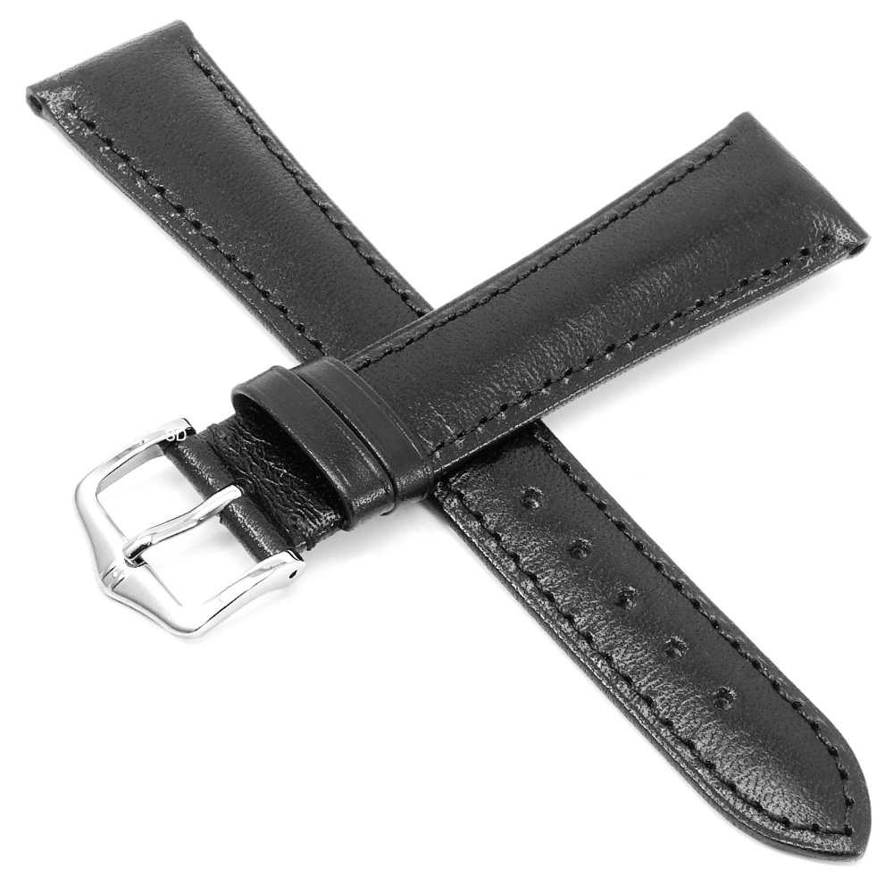 海奕施 HIRSCH Siena L 典雅柔軟小牛皮錶帶 防水可清洗-黑色