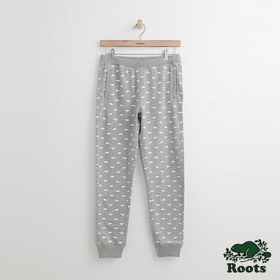 Roots-女裝-滿版海狸休閒棉褲灰