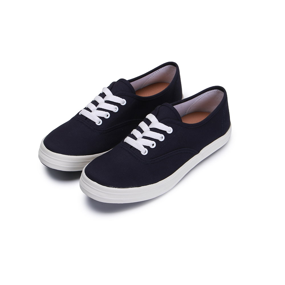 BuyGlasses 學院風三色休閒布鞋-深藍