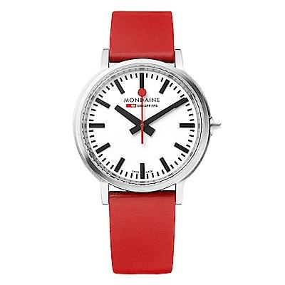 MONDAINE 瑞士國鐵 stop2go 經典腕錶-白x紅錶帶/40mm