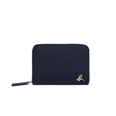 agnes b. Voyage經典款 b logo防刮牛皮拉鍊零錢包  (深藍)