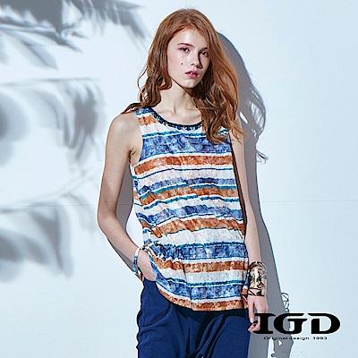 IGD英格麗 彩條紋花卉蕾絲壓紋長版背心
