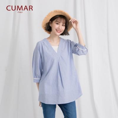 【CUMAR】條紋假兩件女短袖-襯衫(三色/魅力價格)
