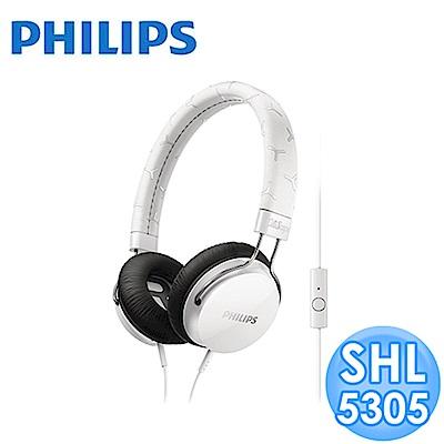 【福利品】PHILIPS 頭戴式耳機麥克風 SHL5305 (白色)