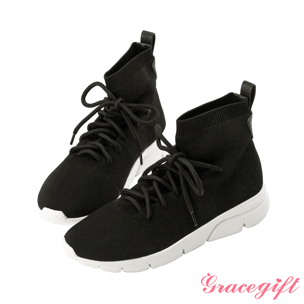 Grace gift X Kerina-聯名綁帶2WAY低筒襪套鞋 黑