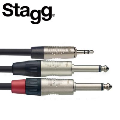 STAGG NYC3MPS2PR 3M Y型音源線立體聲公頭對單聲道公頭