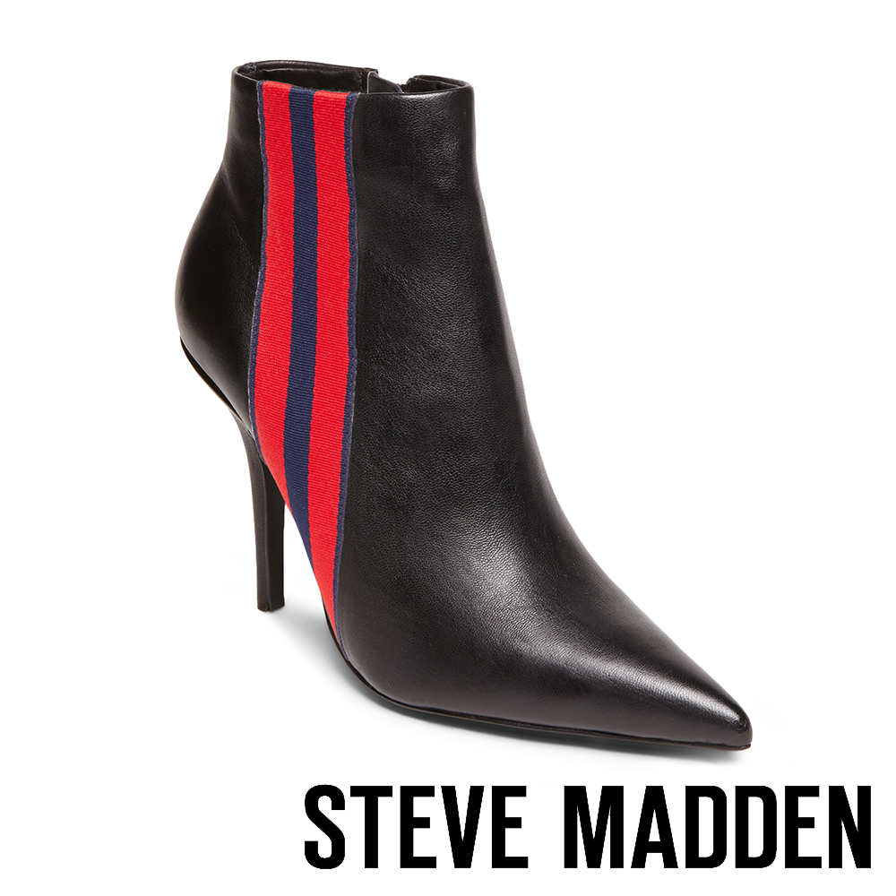 STEVE MADDEN-KNOCK尖頭性感設計側面緞飾細高跟靴-黑色