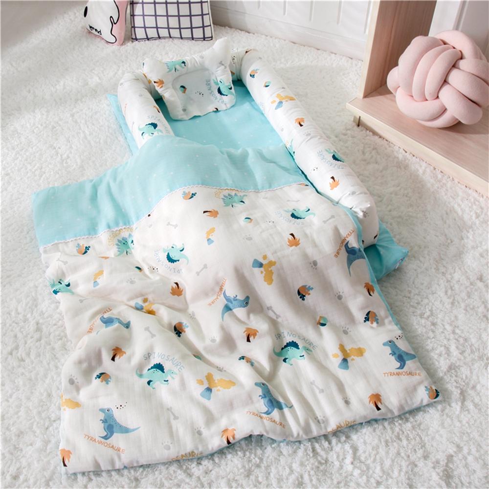 雙層紗純棉多功能床中床- 侏儸紀公園 有被子/可折疊式嬰兒床包/便攜式母嬰包外出手提旅行床