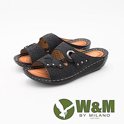 W&M 簍空鑲鑽厚底拖鞋 女鞋-黑(另有藍)