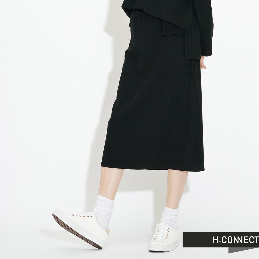 H:CONNECT 韓國品牌 女裝- 後開岔鬆緊中長裙-黑