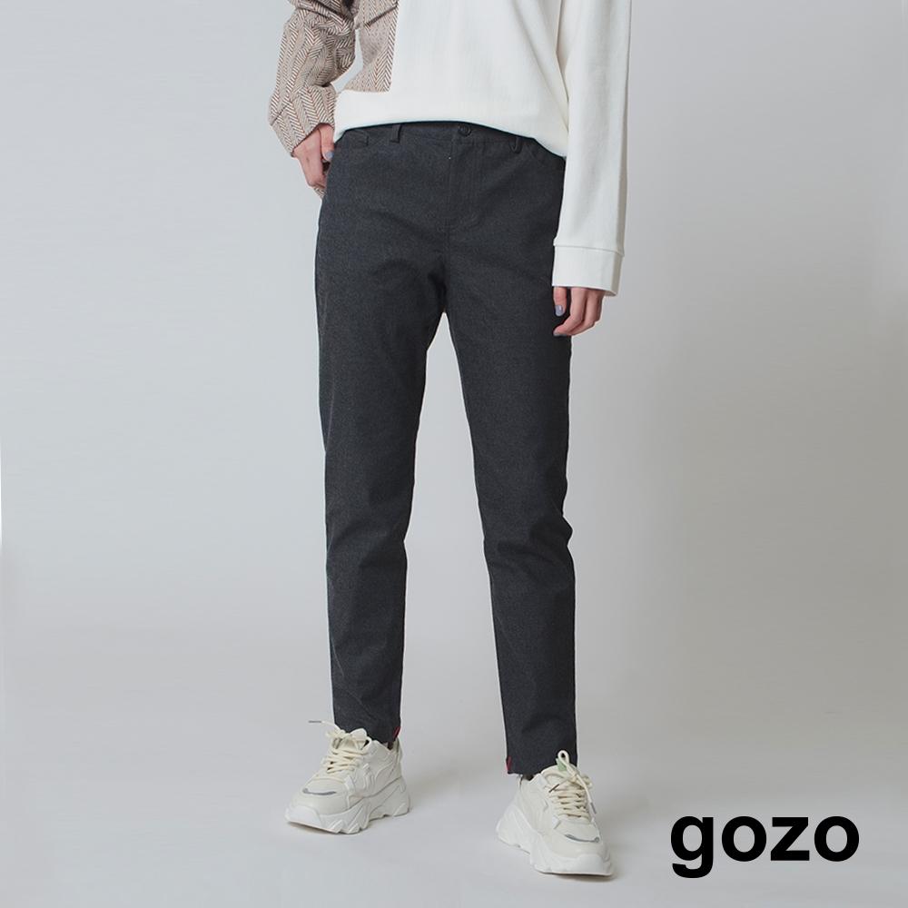 gozo-後褲口繡花彈性修身褲-兩色