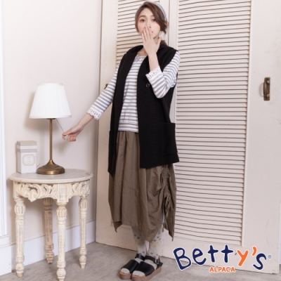 betty's貝蒂思 下擺特殊剪裁抽繩長裙(咖啡色)