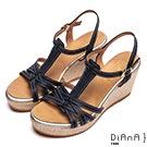 DIANA 度假女神—交錯線條編織底楔型涼鞋-深藍