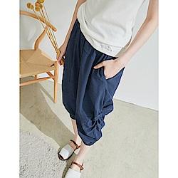 慢 生活 設計款棉麻縮口褲- 藍