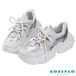 Robinlo 潮流金屬感圓環老爹鞋 白
