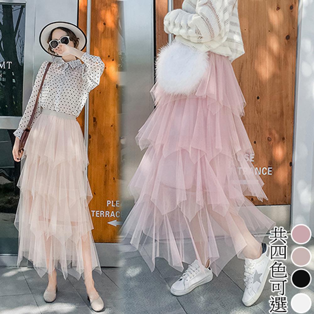 【韓國K.W.】果色繽紛多層次蛋糕紗裙-4色