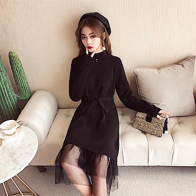 中大尺碼立領羅紋拼接下擺黑色網紗裙擺洋裝附腰帶XL~4L-Ballet Dolly