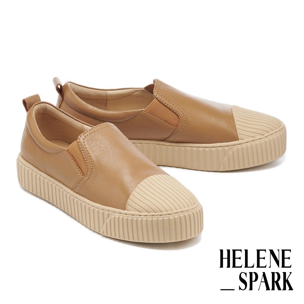 休閒鞋 HELENE SPARK 簡約率性全真皮線感厚底休閒鞋-駝
