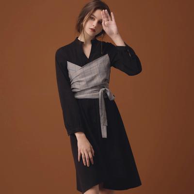 AIR SPACE LADY 格紋綁帶造型絨布襯衫洋裝(黑)