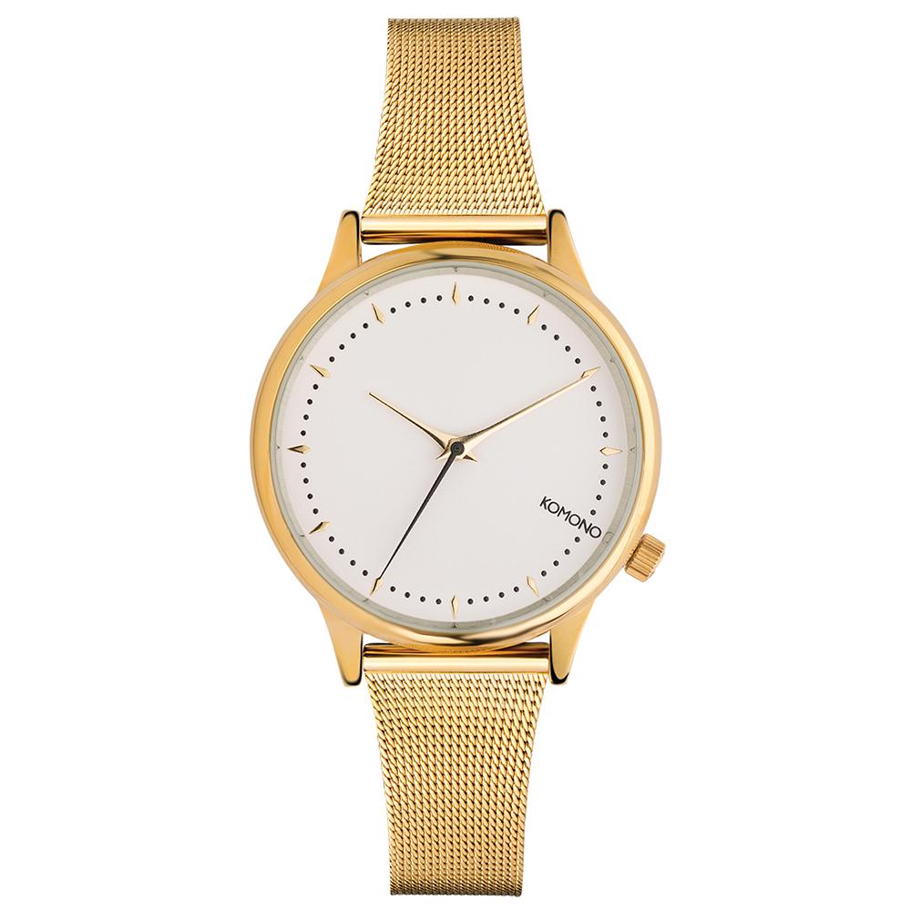 KOMONO Estelle Royale 腕錶-琥珀金x白/36mm