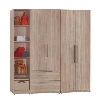 【AT HOME】日式簡約6尺淺灰橡木紋雙吊+二抽+開放隔板衣櫃/收納櫃(凱文)