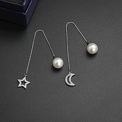 梨花HaNA  韓國925銀星月不對稱珍珠光澤耳環