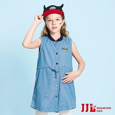 JJLKIDS 排扣綁帶無袖牛仔洋裝(牛仔藍)
