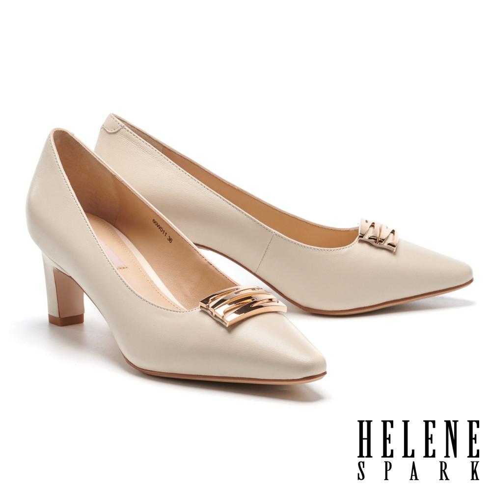 高跟鞋 HELENE SPARK 知性典雅雙 Z 字釦羊皮高跟鞋-米